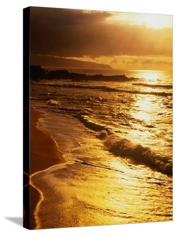 Sunset at the Beach on the North Shore, Pupukea Beach Park, Oahu, Hawaii, USA-Ann Cecil-Stretched Canvas Print