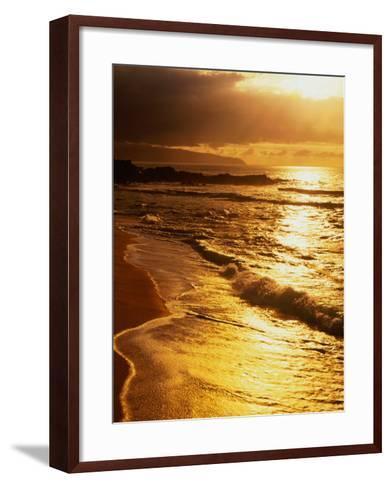 Sunset at the Beach on the North Shore, Pupukea Beach Park, Oahu, Hawaii, USA-Ann Cecil-Framed Art Print