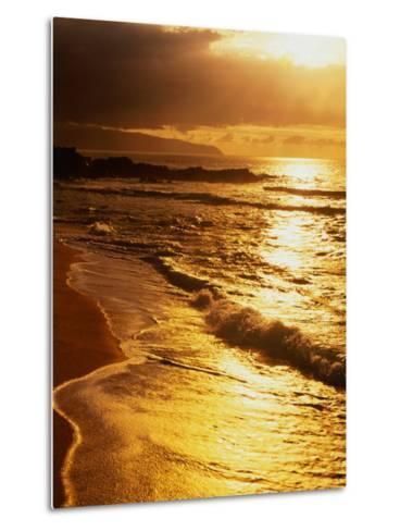 Sunset at the Beach on the North Shore, Pupukea Beach Park, Oahu, Hawaii, USA-Ann Cecil-Metal Print