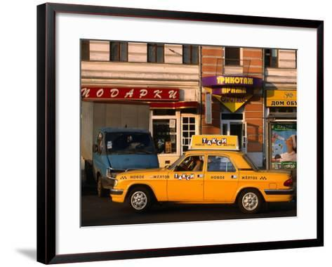 New Yellow Taxi in the Street, Moscow, Russia-Jonathan Smith-Framed Art Print