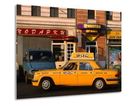 New Yellow Taxi in the Street, Moscow, Russia-Jonathan Smith-Metal Print