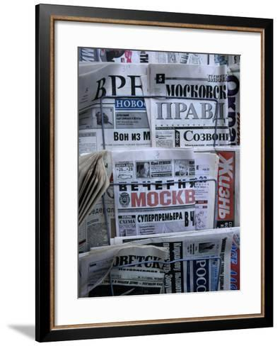 Russian Newspapers, Including Pravda and Moscow Evening News, at Newsstand, Moscow, Russia-Jonathan Smith-Framed Art Print