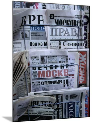 Russian Newspapers, Including Pravda and Moscow Evening News, at Newsstand, Moscow, Russia-Jonathan Smith-Mounted Photographic Print