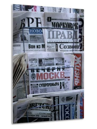 Russian Newspapers, Including Pravda and Moscow Evening News, at Newsstand, Moscow, Russia-Jonathan Smith-Metal Print