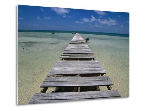 Wooden Pier with Broken Planks, Ambergris Caye, Belize-Doug McKinlay-Metal Print