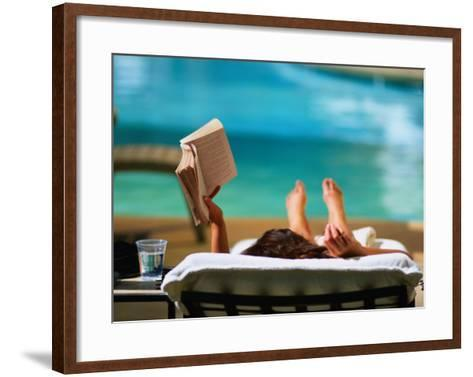 Woman Reading by Hotel Swimming Pool, Las Vegas, Nevada, USA-Ray Laskowitz-Framed Art Print