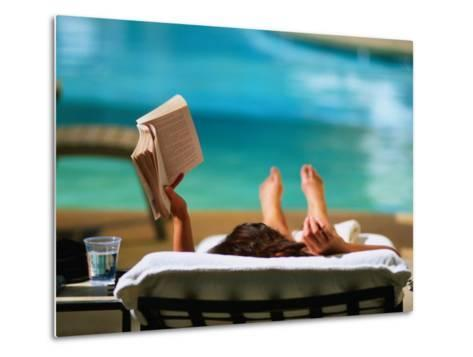 Woman Reading by Hotel Swimming Pool, Las Vegas, Nevada, USA-Ray Laskowitz-Metal Print