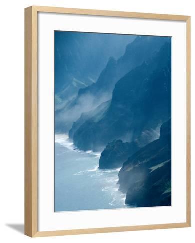 Mist on Rocky Coastline, Kauai, Hawaii, USA-Eric Wheater-Framed Art Print