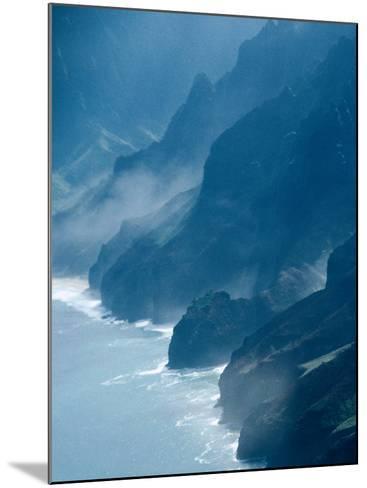 Mist on Rocky Coastline, Kauai, Hawaii, USA-Eric Wheater-Mounted Photographic Print