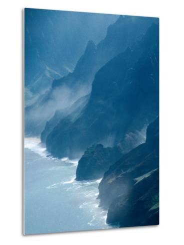 Mist on Rocky Coastline, Kauai, Hawaii, USA-Eric Wheater-Metal Print