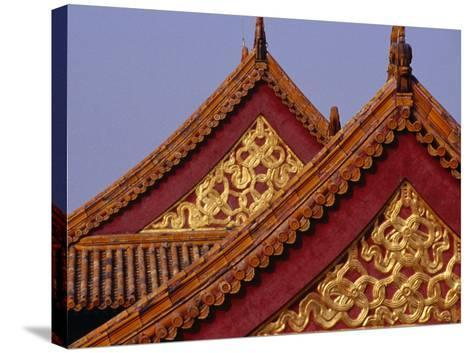 Roof Detail of Beijing's Forbidden City Bejing, China-Phil Weymouth-Stretched Canvas Print