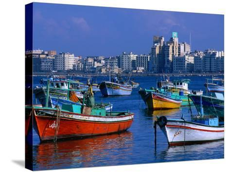 Harbour View with Fishing Boats, Alexandria, Egypt-John Elk III-Stretched Canvas Print
