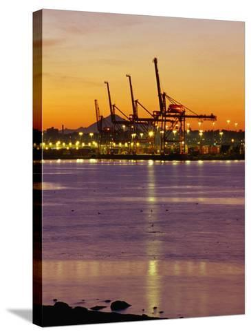 Cranes Unloading Cargo at Burrard Inlet at Dawn, Vancouver, Canada-Ryan Fox-Stretched Canvas Print
