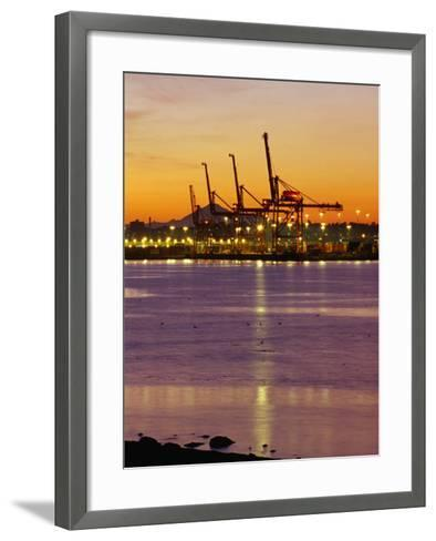 Cranes Unloading Cargo at Burrard Inlet at Dawn, Vancouver, Canada-Ryan Fox-Framed Art Print