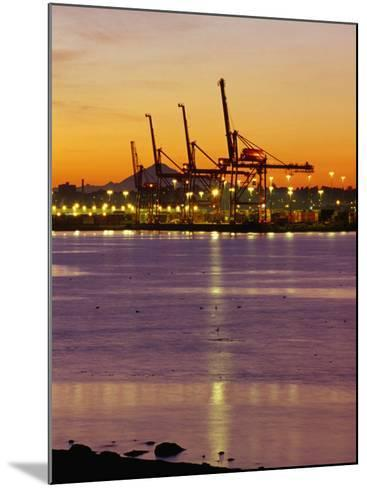 Cranes Unloading Cargo at Burrard Inlet at Dawn, Vancouver, Canada-Ryan Fox-Mounted Photographic Print