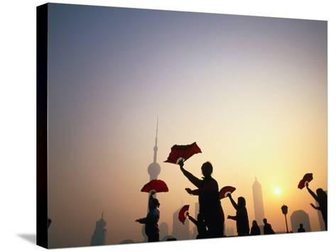 Morning Tai Chi Exercise in the Bund, Shanghai, China-Ray Laskowitz-Stretched Canvas Print