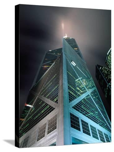 Bank of China at Night, Hong Kong, China-Lawrence Worcester-Stretched Canvas Print
