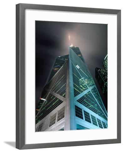 Bank of China at Night, Hong Kong, China-Lawrence Worcester-Framed Art Print