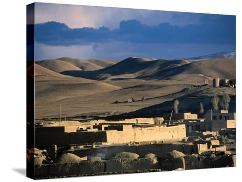 Hills, Mountain and Town by Hari Rud River, Chaghcharan, Afghanistan-Stephane Victor-Stretched Canvas Print