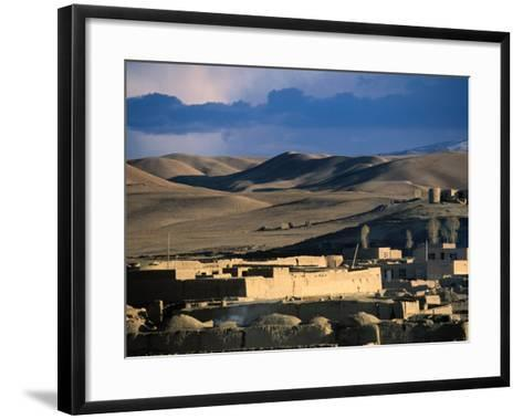 Hills, Mountain and Town by Hari Rud River, Chaghcharan, Afghanistan-Stephane Victor-Framed Art Print