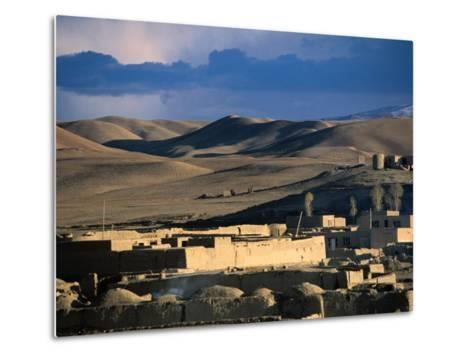 Hills, Mountain and Town by Hari Rud River, Chaghcharan, Afghanistan-Stephane Victor-Metal Print