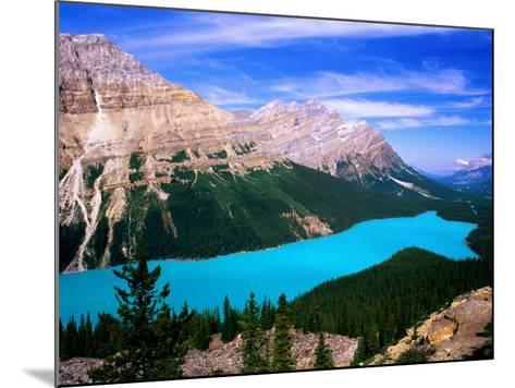 Overhead of Peyto Lake and Mountains, Summer, Banff National Park, Canada-David Tomlinson-Mounted Photographic Print