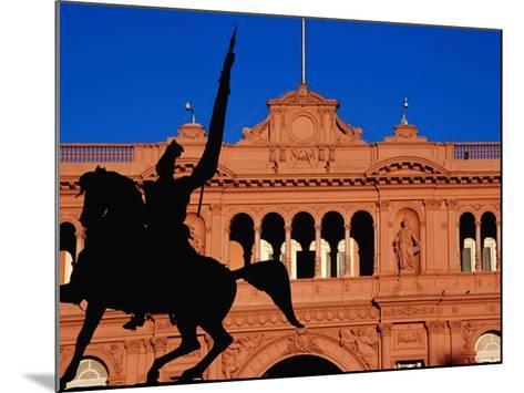 Equestrian Statue of General Manuel Belgrano in Front of Government House, Buenos Aires, Argentina-Krzysztof Dydynski-Mounted Photographic Print
