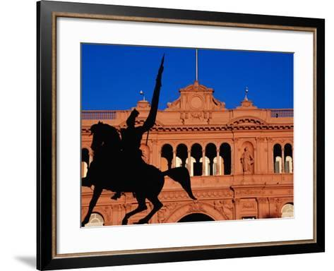 Equestrian Statue of General Manuel Belgrano in Front of Government House, Buenos Aires, Argentina-Krzysztof Dydynski-Framed Art Print