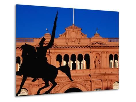 Equestrian Statue of General Manuel Belgrano in Front of Government House, Buenos Aires, Argentina-Krzysztof Dydynski-Metal Print