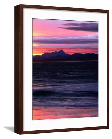 Watego's Beach with Mt. Warning in Distance Byron Bay, New South Wales, Australia-John Hay-Framed Art Print