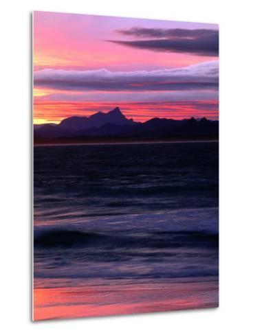 Watego's Beach with Mt. Warning in Distance Byron Bay, New South Wales, Australia-John Hay-Metal Print