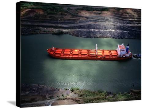Cargo Ship at Gaillard Cut on the Panama Canal, Near Gamboa, Gamboa, Panama-Alfredo Maiquez-Stretched Canvas Print