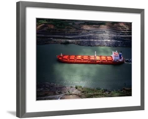 Cargo Ship at Gaillard Cut on the Panama Canal, Near Gamboa, Gamboa, Panama-Alfredo Maiquez-Framed Art Print
