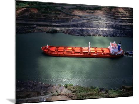 Cargo Ship at Gaillard Cut on the Panama Canal, Near Gamboa, Gamboa, Panama-Alfredo Maiquez-Mounted Photographic Print
