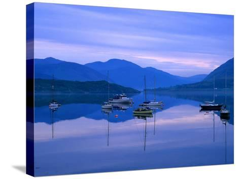 Moored Yachts on Loch Broom, Ullapool, Scotland-Grant Dixon-Stretched Canvas Print