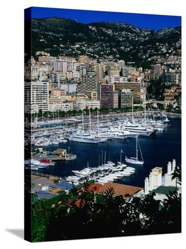 Boats in Port, Monte Carlo, Monaco-Neil Setchfield-Stretched Canvas Print