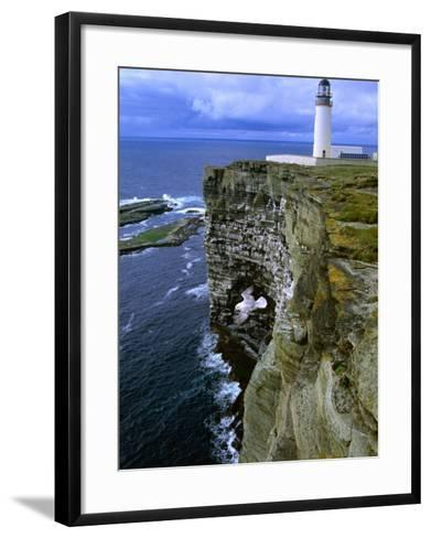 Lighthouse and Cliffs at Noup Head Rspb Reserve, Westray, Orkney Islands, Scotland-Gareth McCormack-Framed Art Print