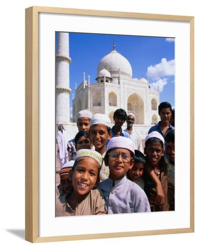 Group of Boys with Taj Mahal in Background, Looking at Camera, Agra, India-Paul Beinssen-Framed Art Print