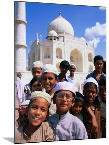 Group of Boys with Taj Mahal in Background, Looking at Camera, Agra, India-Paul Beinssen-Mounted Photographic Print