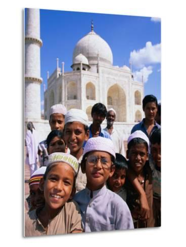 Group of Boys with Taj Mahal in Background, Looking at Camera, Agra, India-Paul Beinssen-Metal Print