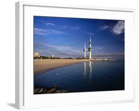 Kuwait City Water Towers on Seafront, Kuwait, Kuwait-Izzet Keribar-Framed Art Print