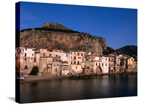 Rocky Crag Known as La Rocca (The Rocky) Rises Behind Town, Cefalu, Sicily, Italy-Stephen Saks-Stretched Canvas Print