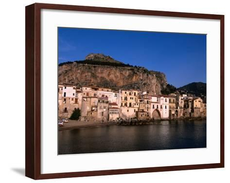 Rocky Crag Known as La Rocca (The Rocky) Rises Behind Town, Cefalu, Sicily, Italy-Stephen Saks-Framed Art Print