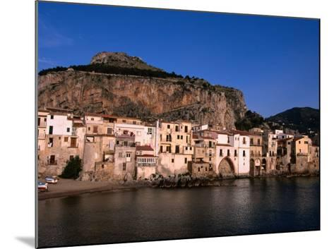 Rocky Crag Known as La Rocca (The Rocky) Rises Behind Town, Cefalu, Sicily, Italy-Stephen Saks-Mounted Photographic Print