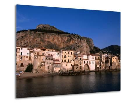 Rocky Crag Known as La Rocca (The Rocky) Rises Behind Town, Cefalu, Sicily, Italy-Stephen Saks-Metal Print