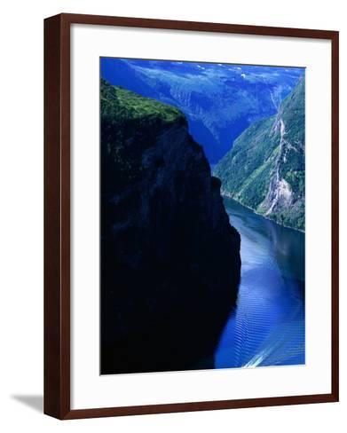 Fjord Ferry and Seven Sisters Waterfall, Geiranger, Norway-Anders Blomqvist-Framed Art Print
