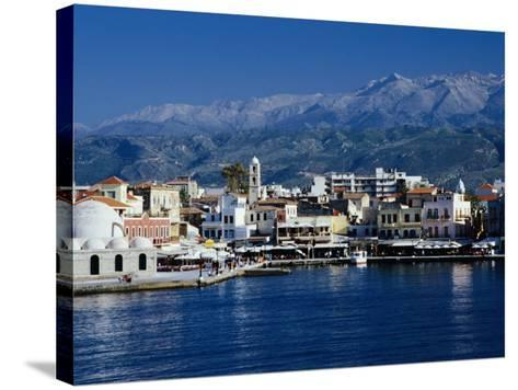 Harbour and Mosque of the Janissaries on Waterfront, Hania, Crete, Greece-Diana Mayfield-Stretched Canvas Print