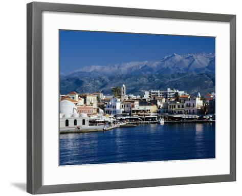 Harbour and Mosque of the Janissaries on Waterfront, Hania, Crete, Greece-Diana Mayfield-Framed Art Print