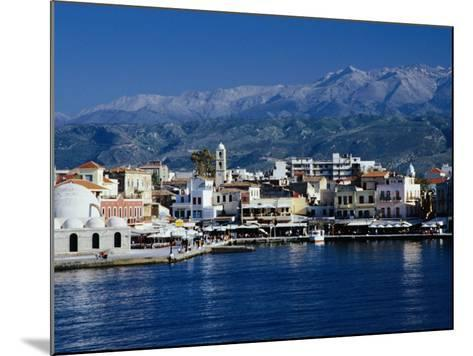 Harbour and Mosque of the Janissaries on Waterfront, Hania, Crete, Greece-Diana Mayfield-Mounted Photographic Print