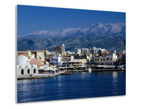 Harbour and Mosque of the Janissaries on Waterfront, Hania, Crete, Greece-Diana Mayfield-Metal Print